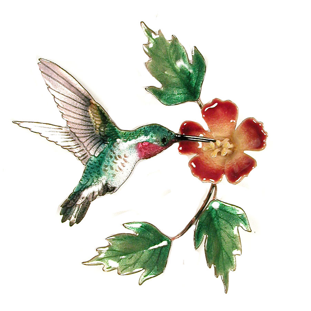 Bovano Hummingbird with Trumpet Flower Enameled Copper Wall Art | W445