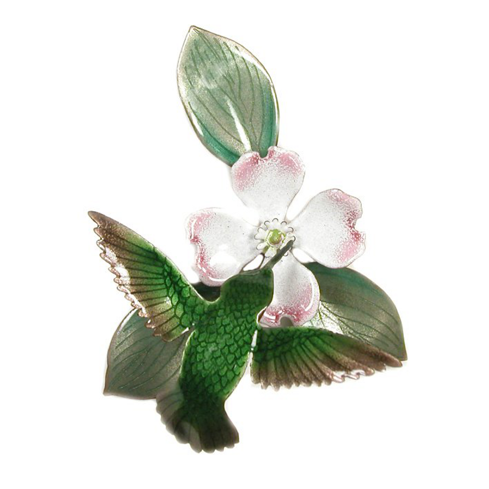 Bovano 3D Hummingbird with Dogwood Enameled Copper Wall Art | W459W