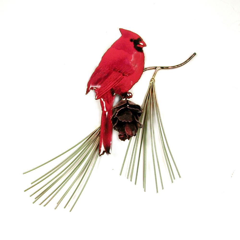 Bovano Male Cardinal on Jumbo Pine Tree Enameled Copper Wall Art | W540