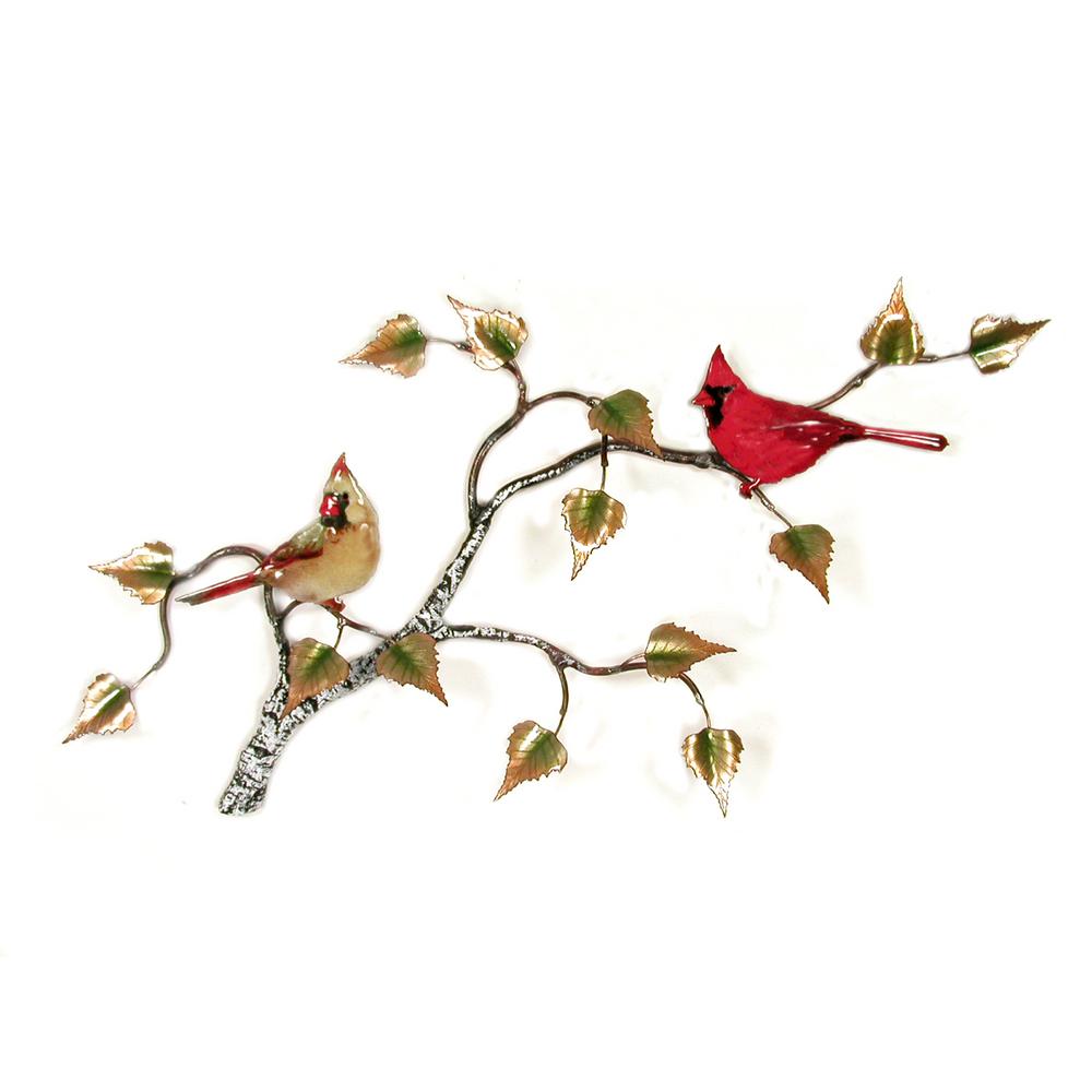 Bovano Cardinal Pair on Birch Tree Enameled Copper Wall Art | W550