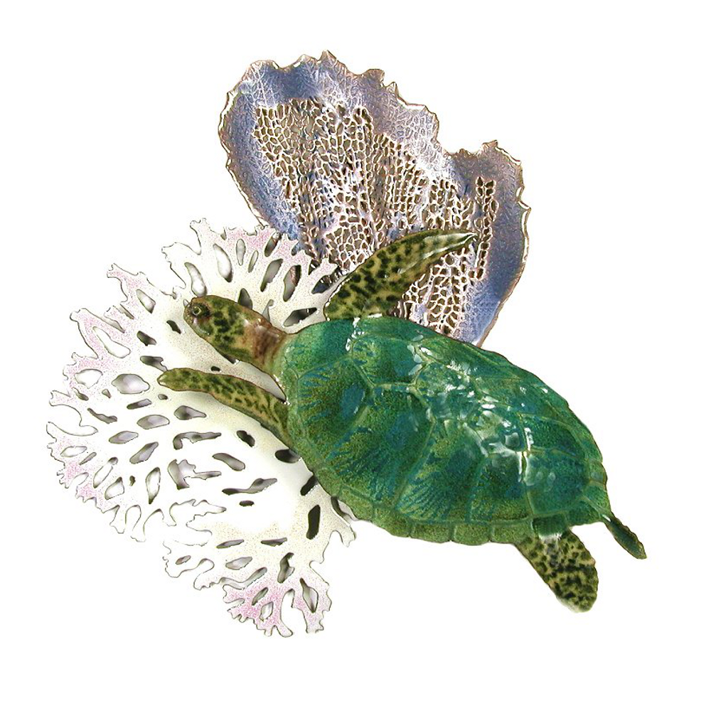 Bovano Sea Turtle with Blue Coral Enameled Copper Wall Art | W625B