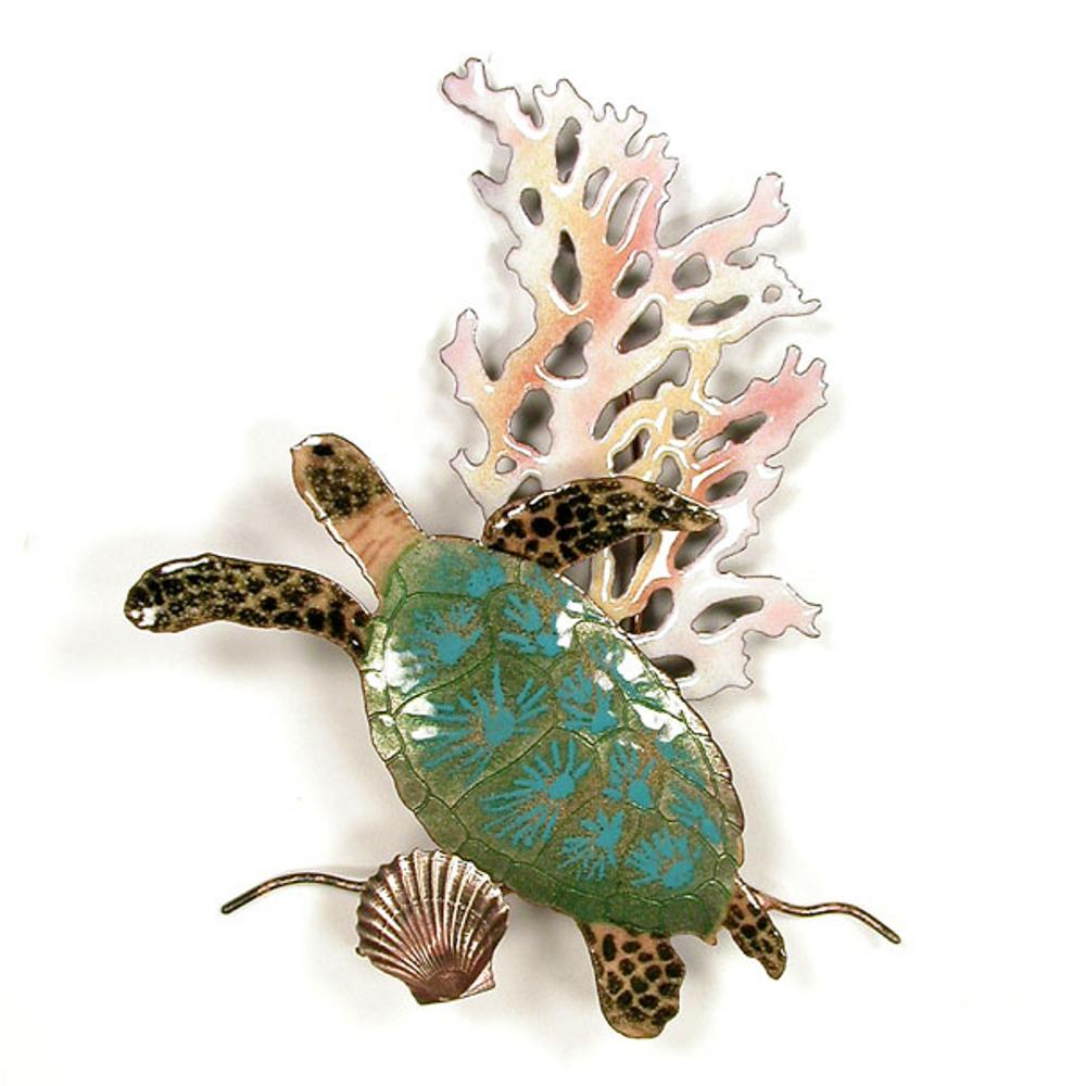 Bovano Mini Sea Turtle with Coral Enameled Copper Wall Art   W630