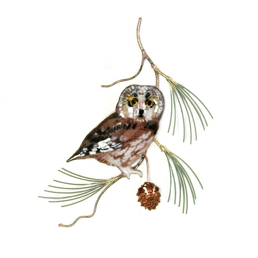 Bovano Saw Whet Owl on Pine Enameled Copper Wall Art | W823