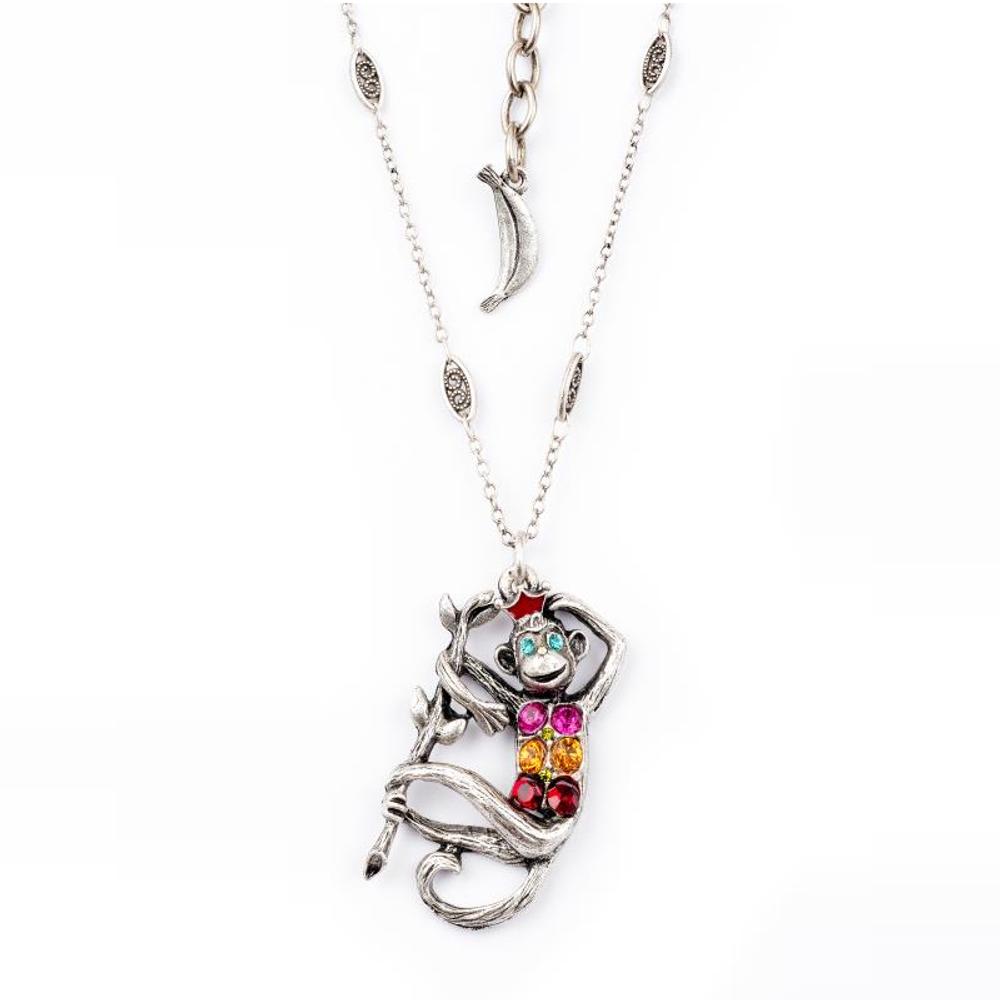 Pave Monkey Pendant Necklace |Nature Jewelry | NK-9703-BM