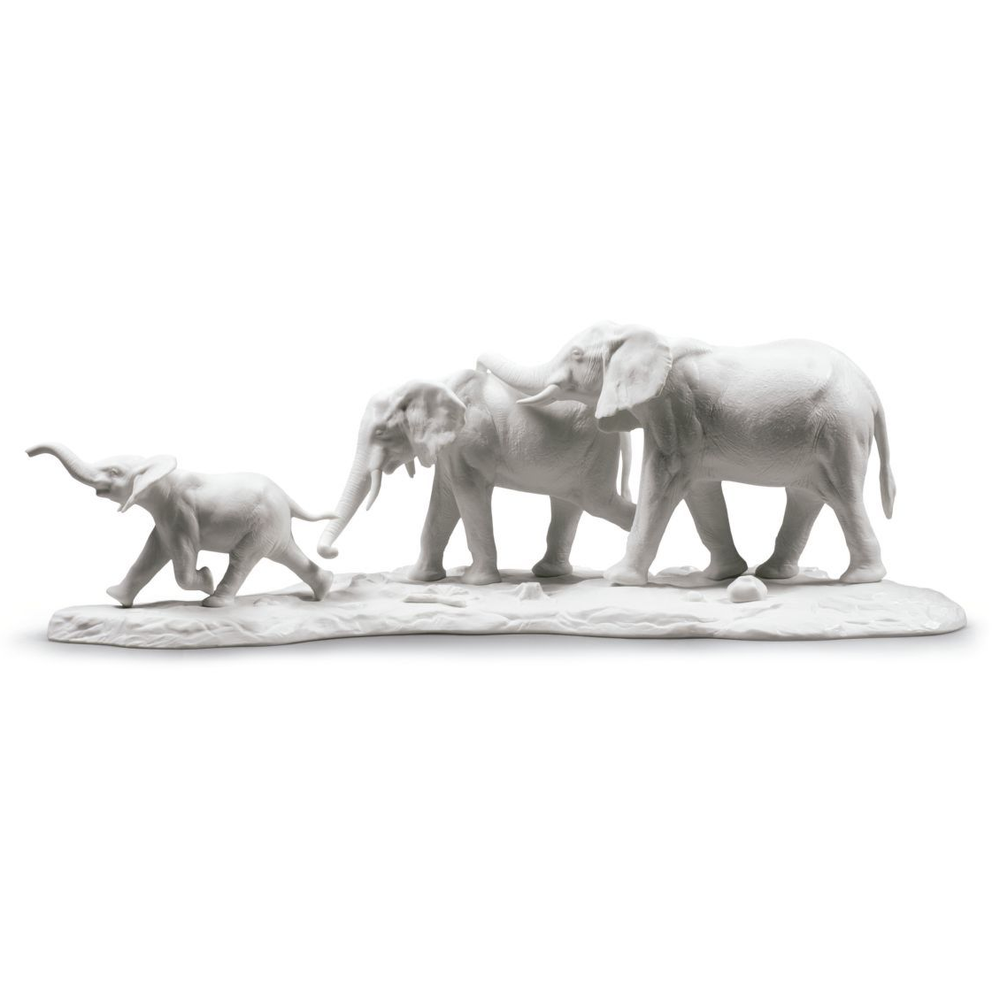 "White Elephants Porcelain Sculpture ""We Follow in Your Steps"" 