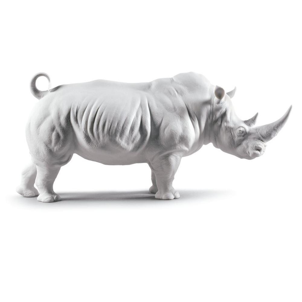 Matte White Rhino Porcelain Figurine   Lladro   01009116