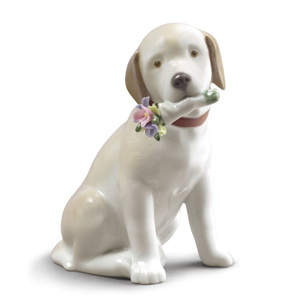 """Dog Porcelain Figurine """"This Bouquet is for You"""" 