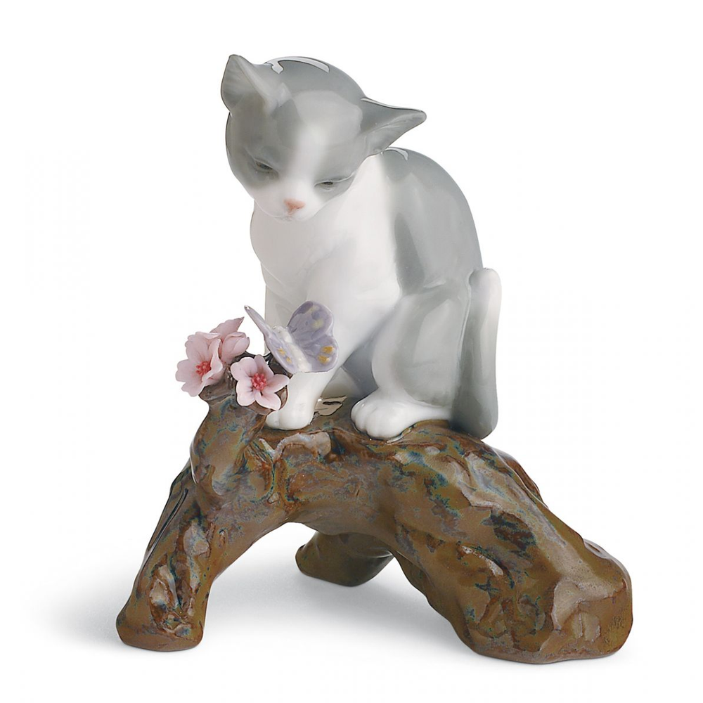 "Cat Porcelain Figurine ""Blossoms for The Kitten "" 