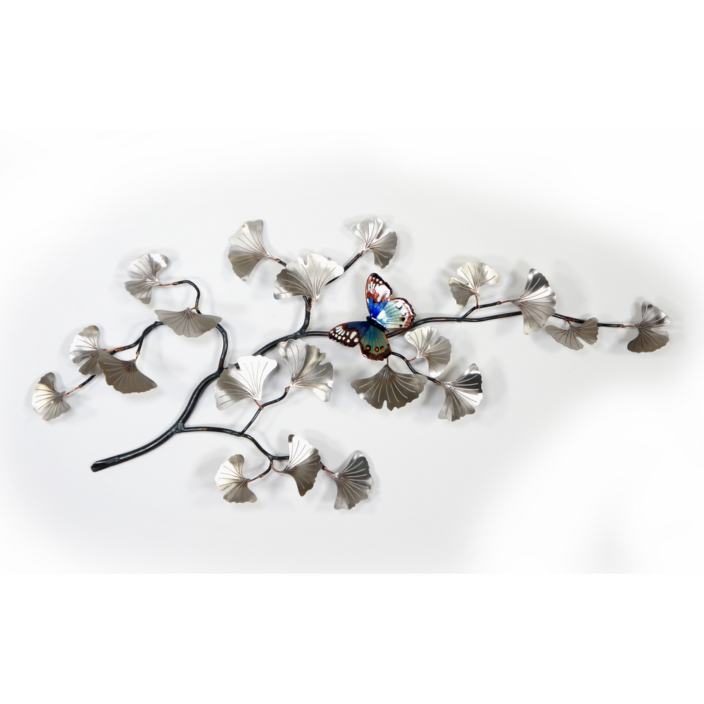 Bovano Stainless Steel Gingko Branch with Blue Butterfly Wall Art | W123