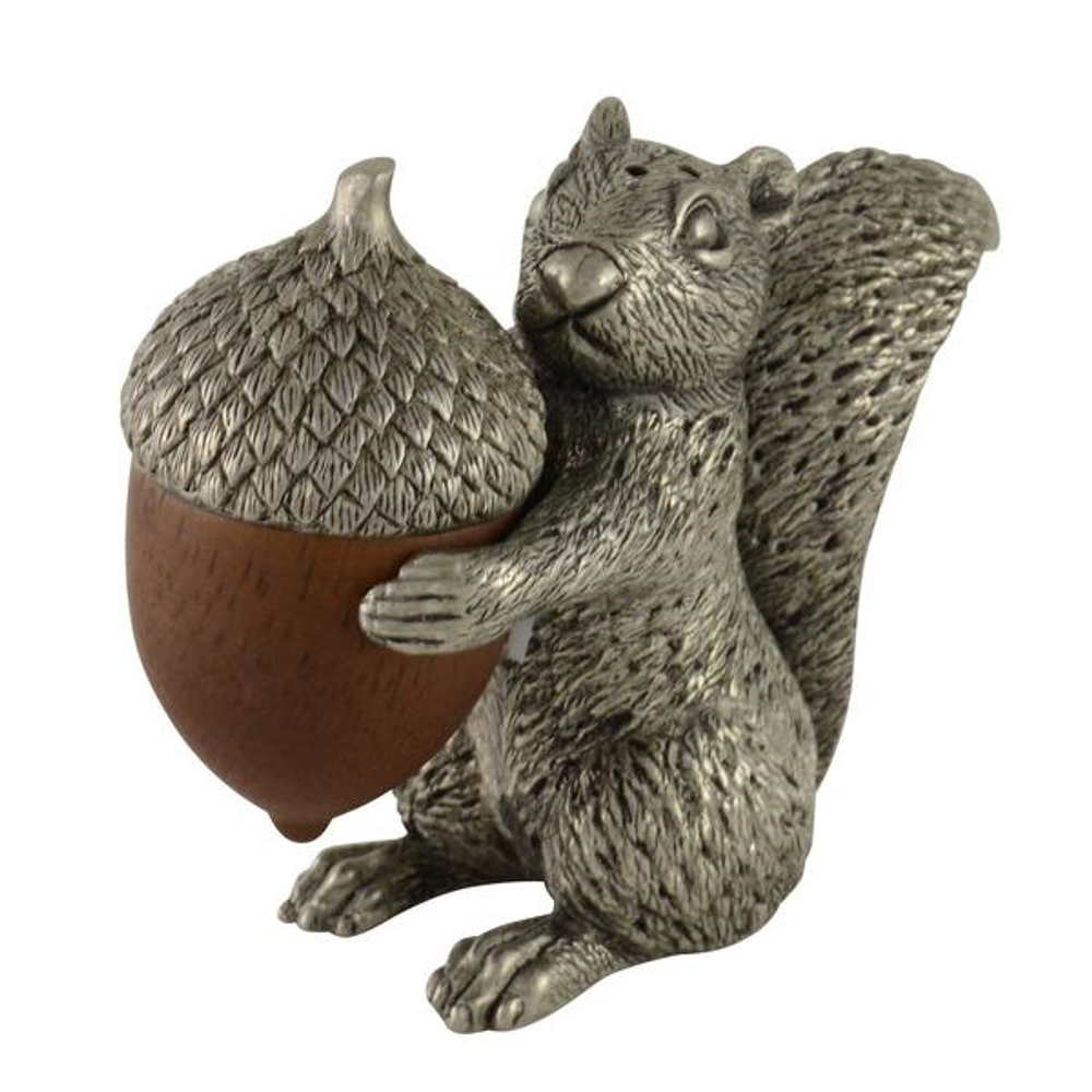 Squirrel with Wood Acorn Pewter Salt Pepper Shakers | Vagabond House | S116W -2