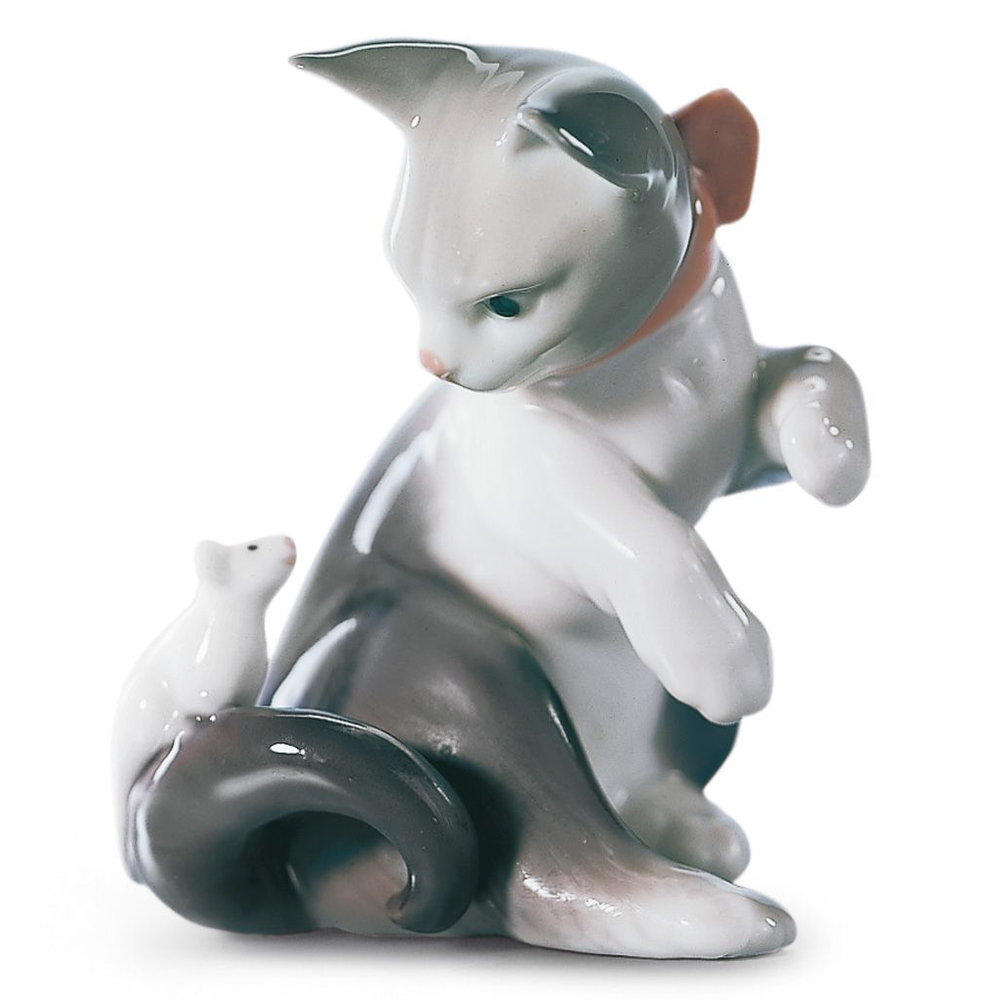 "Cat Porcelain Figurine ""Cat and Mouse""  