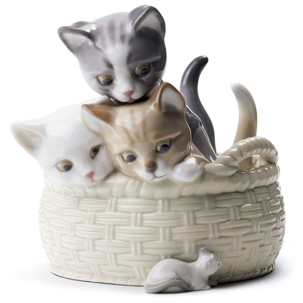 "Cat Porcelain Figurine ""Curious Kittens""  