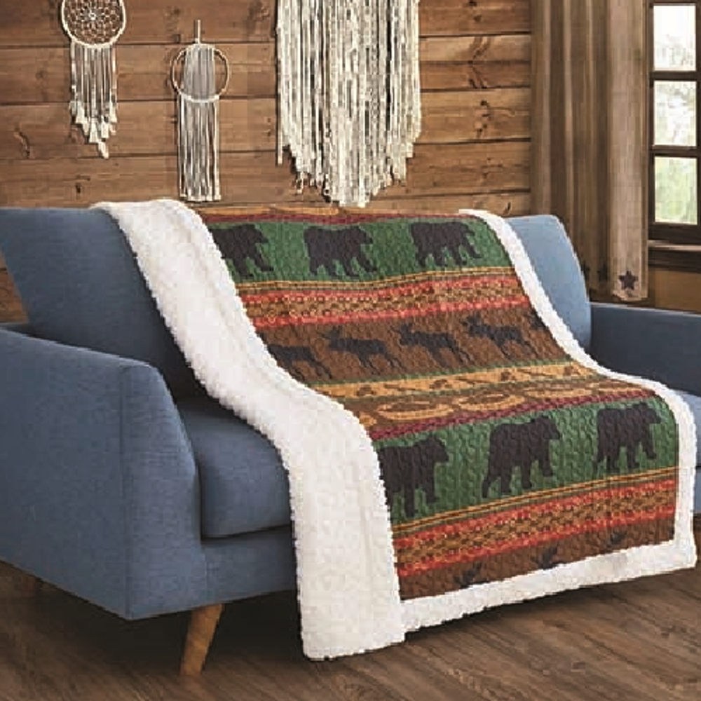 Bear and Moose Primitive Quilted Sherpa Throw Blanket | Lodge Preserve | DQST681