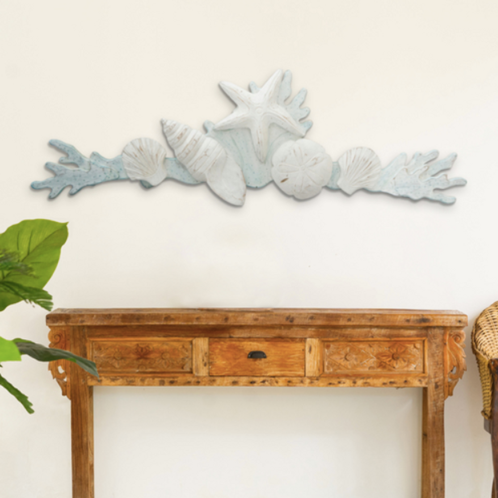 Large Shell Swag with Coral Wood Wall Sculpture | TI Design | C071
