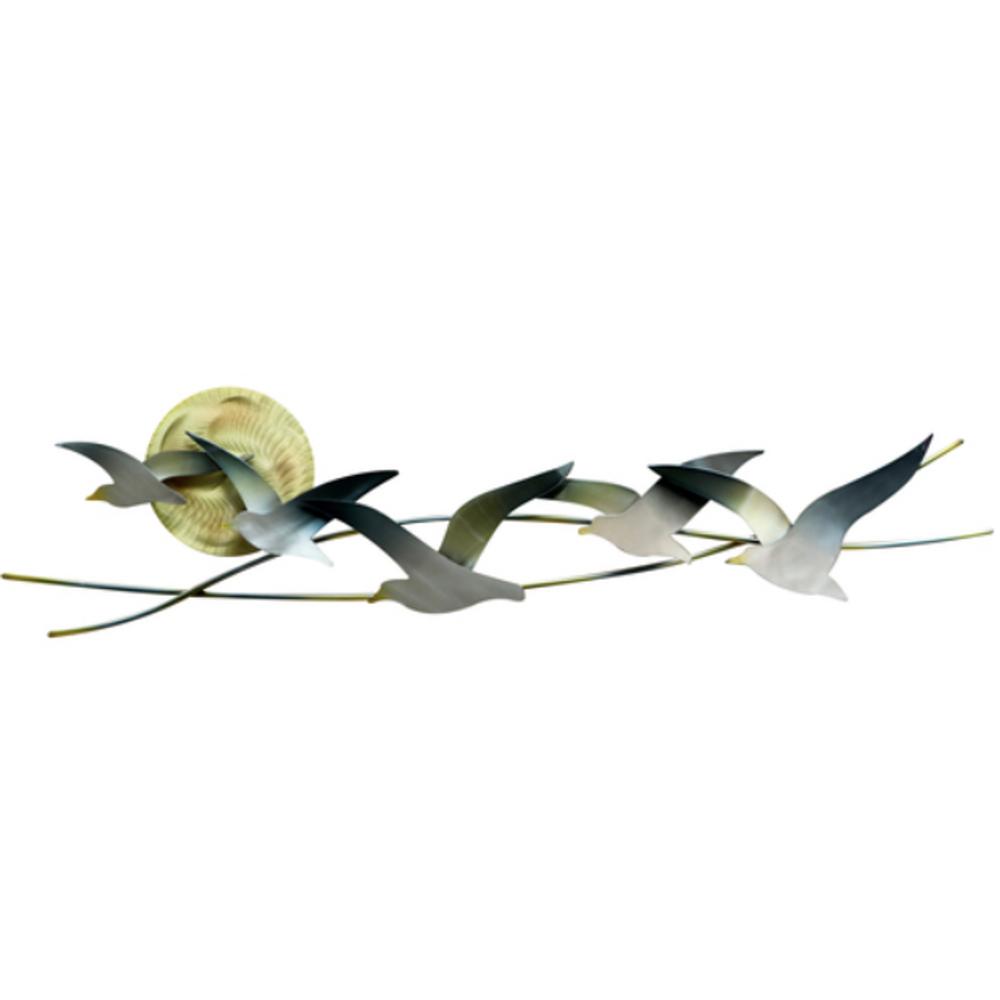 Five Seagulls with Sun Metal Wall Sculpture | TI Design | CO147
