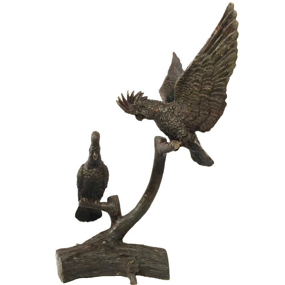 Parrots on Tree Limb Bronze Sculpture | Metropolitan Galleries | SRB15022