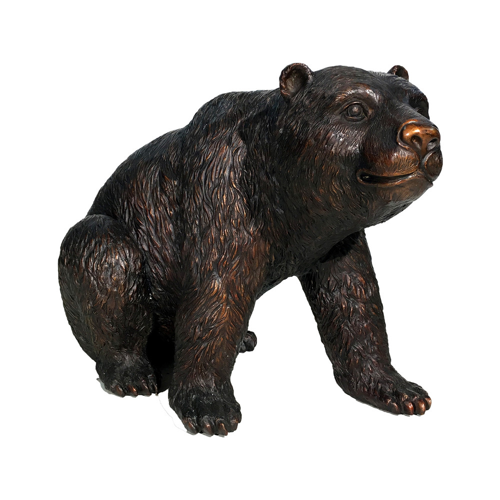 Sitting Bear Medium Bronze Outdoor Statue | Metropolitan Galleries | SRB25128