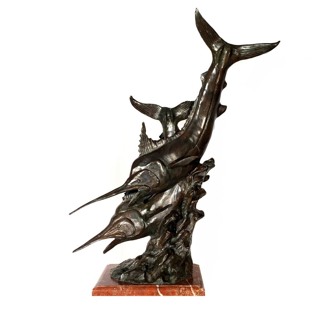 Sailfish School Bronze Sculpture on Red Marble Base   Metropolitan Galleries   SRB64006