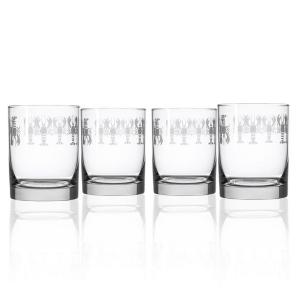 Lobster Double Old Fashioned Glass Set of 4   Rolf Glass   342009