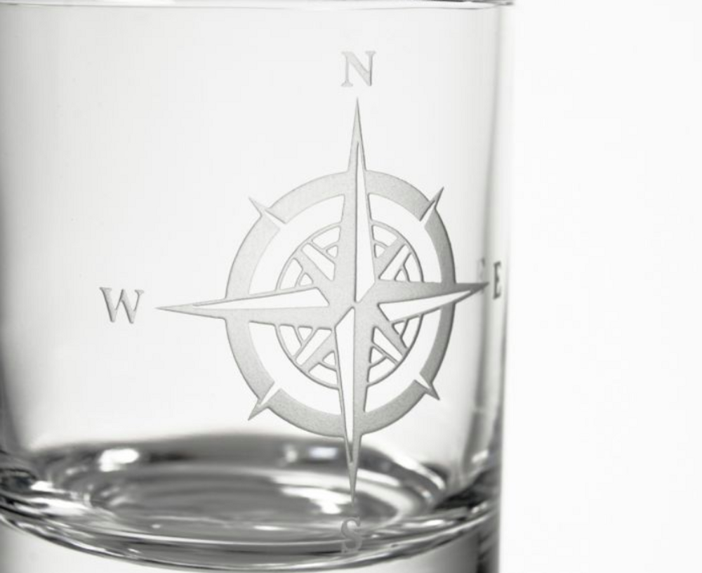 Compass Rose Double Old Fashioned Glass Set of 4 | Rolf Glass | 223001