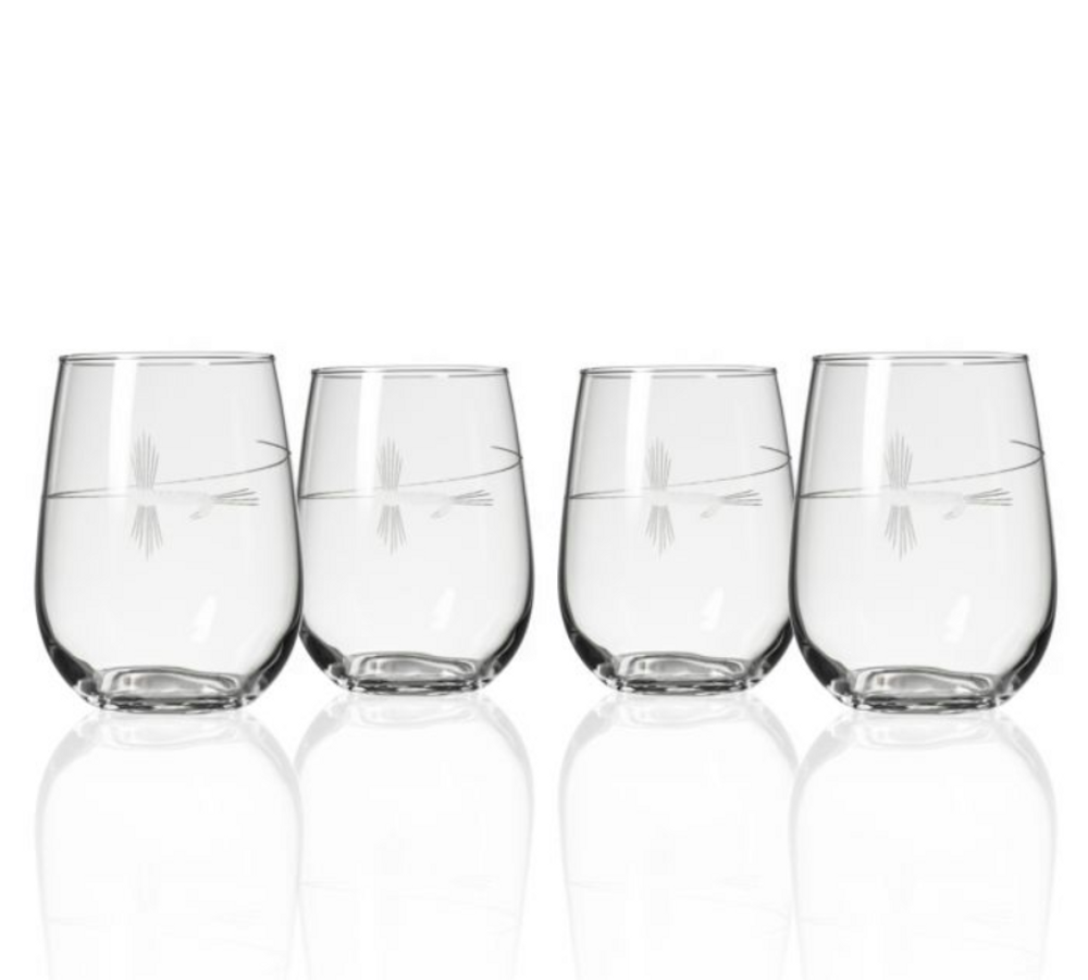 Fly Fishing Engraved Stemless Wine Glass Set of 4 | Rolf Glass | 410333