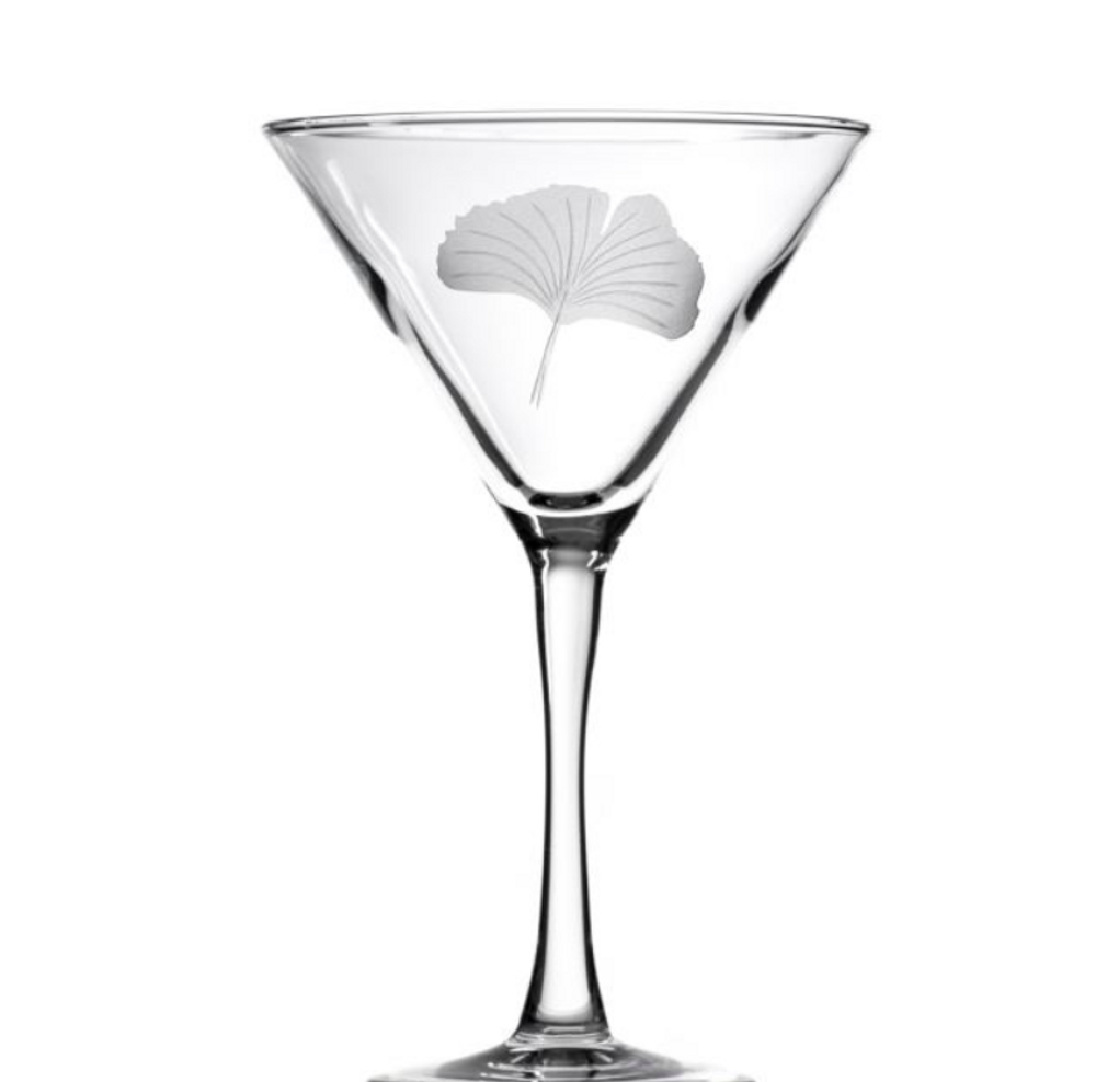Ginkgo Engraved Martini Glass Set of 4 | Rolf Glass | 703138