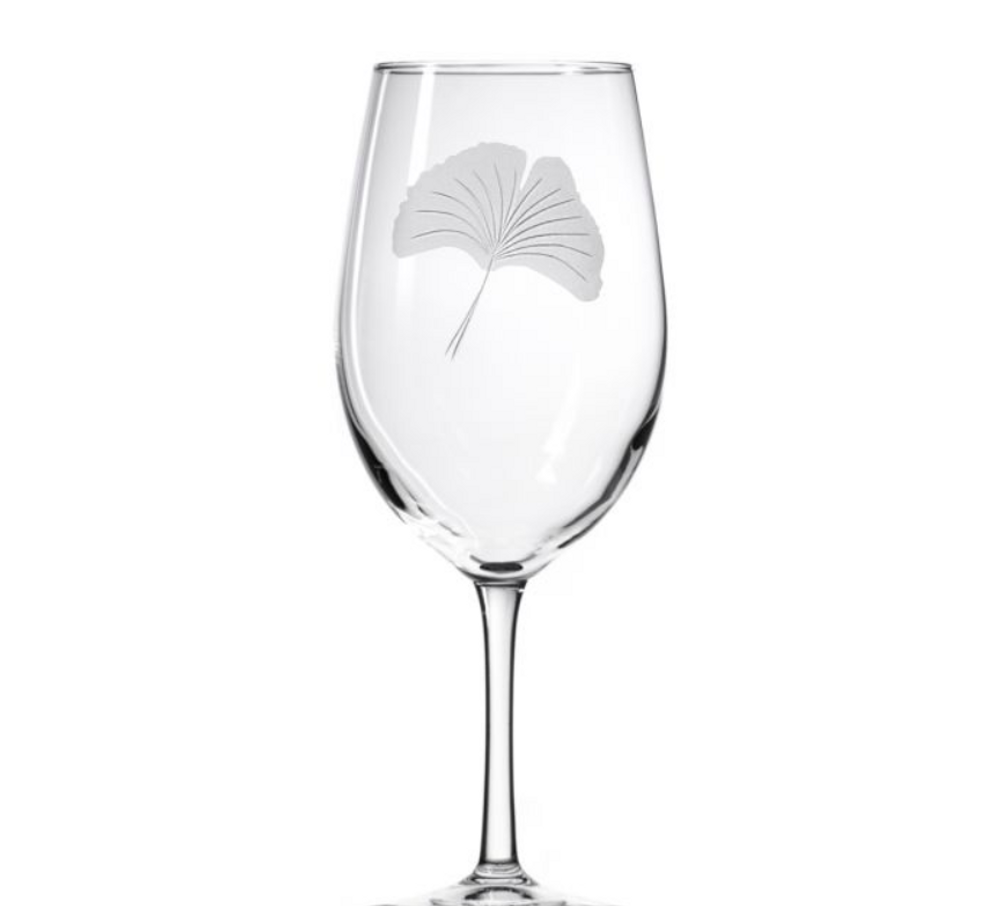 Ginkgo Engraved 18 oz Wine Glass Set of 4 | Rolf Glass | 703268