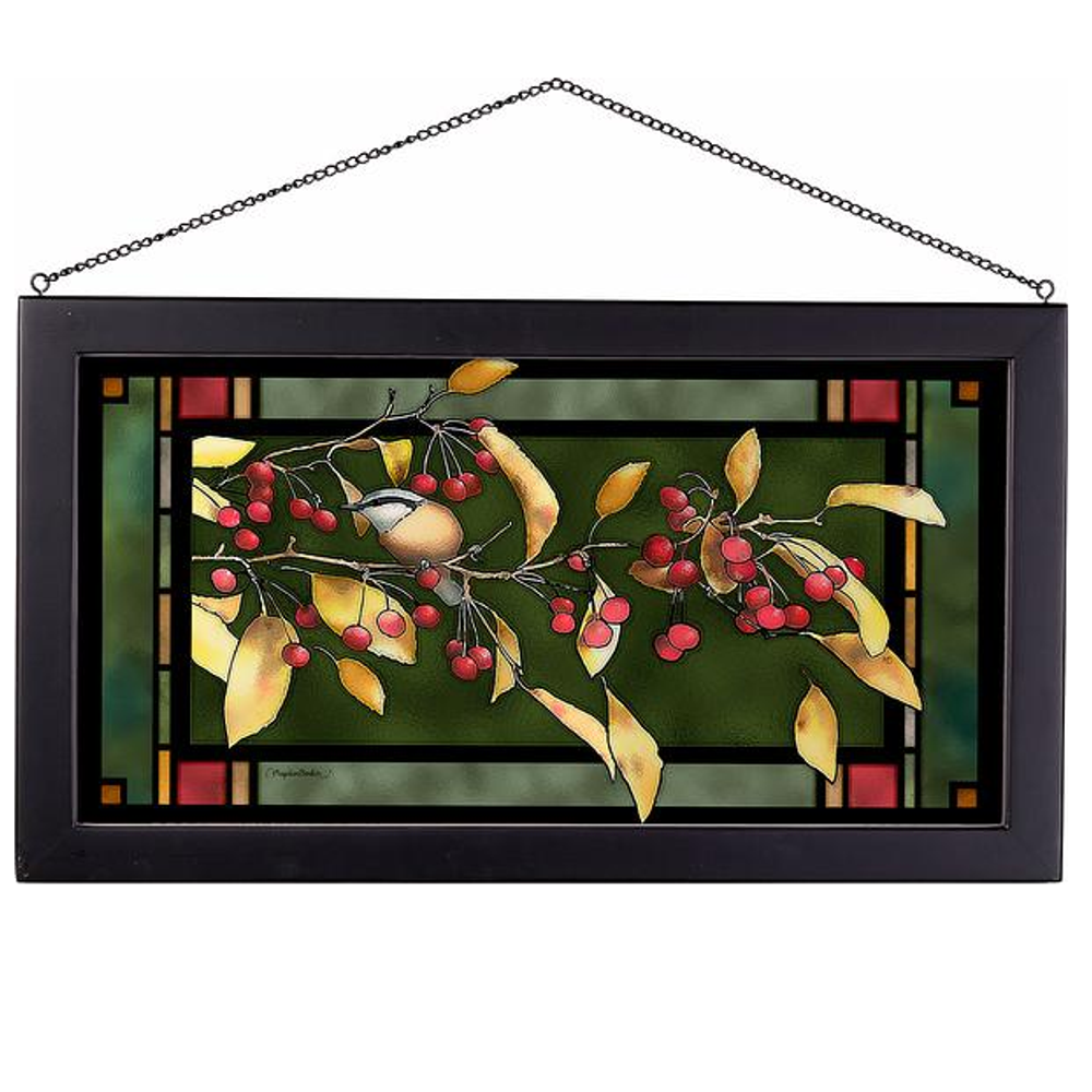 """Chickadee Red & Gold Stained Glass Art """"Autumn Nuthatch"""" 