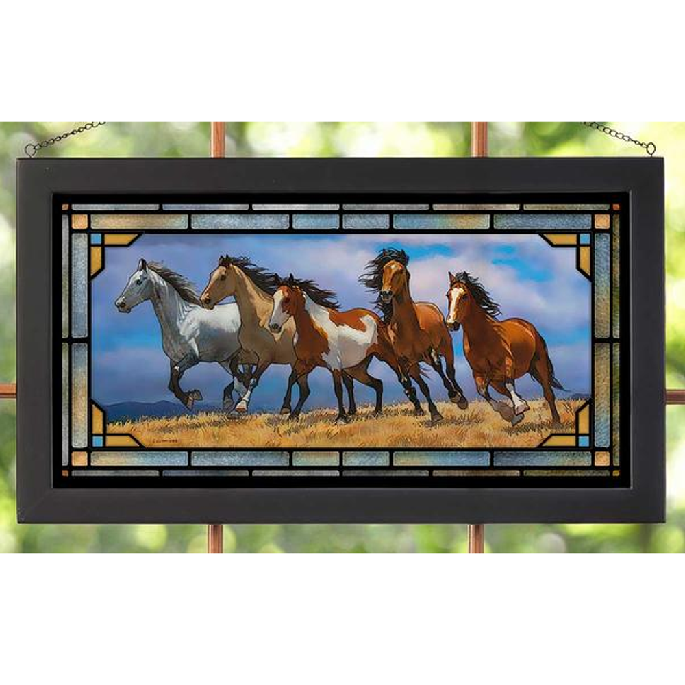 "Horse Stained Glass Art ""Over the Top"" 