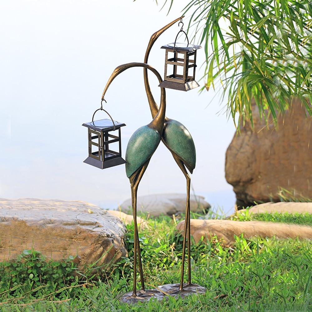 Stylized Crane Pair LED Garden Lantern | 34882 | SPI Home
