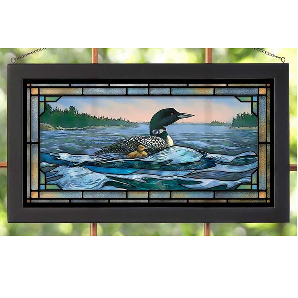 "Loon Stained Glass Art ""Rough Water"" 