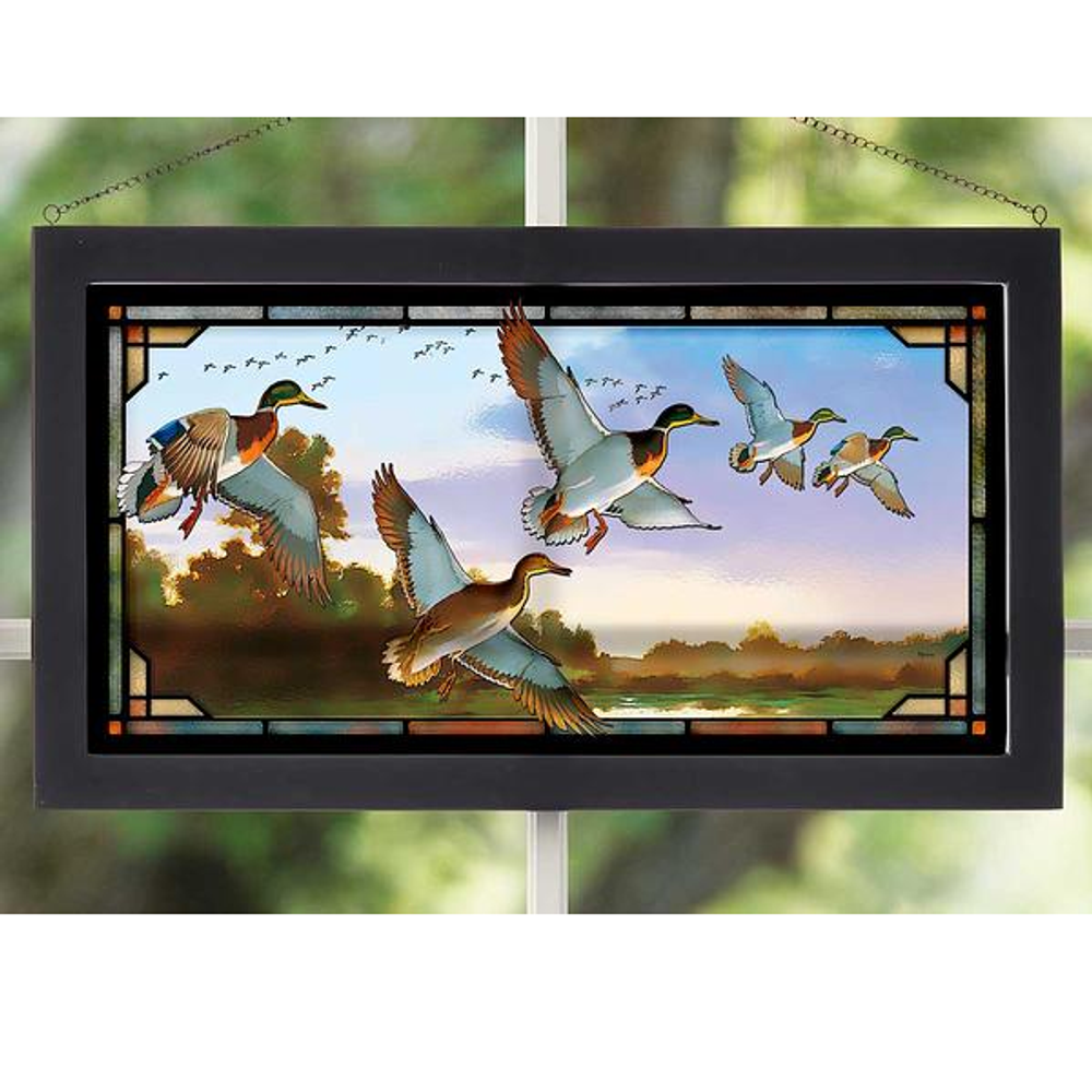 "Mallards  Stained Glass Art ""Evening Flight"" 
