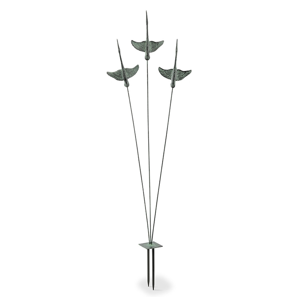 Crane Trio Garden Sculpture on Flexible Stake | 34911 | SPI Home