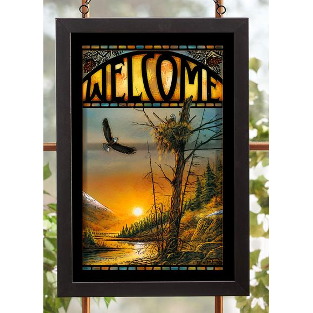 """Bald Eagle Stained Glass Art """"Flying Free"""" 