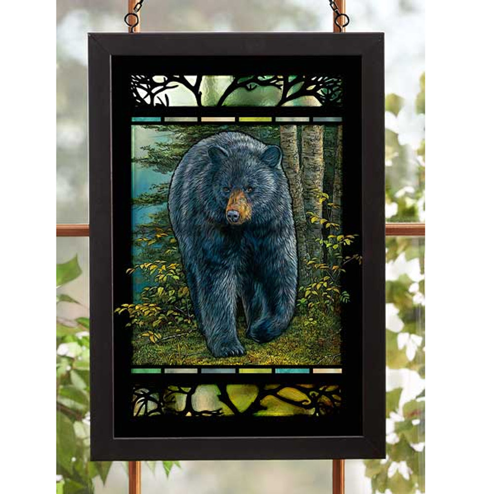 "Black Bear Stained Glass Art ""Rocky Outcrop"" 
