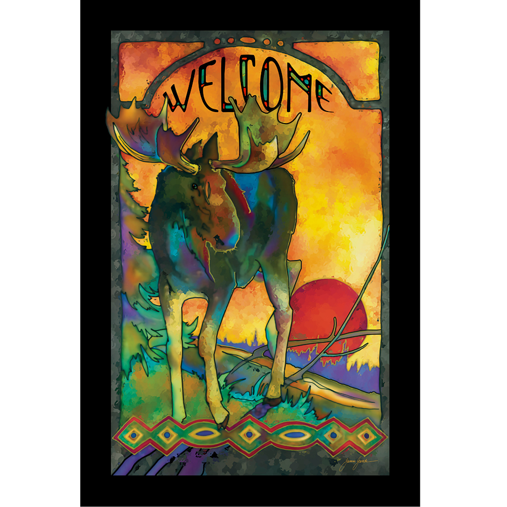 """Moose Stained Glass Art """"Morning Moose"""" 
