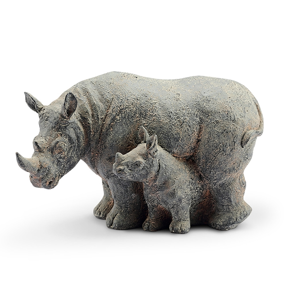 "Rhino and Baby Garden Sculpture ""Serengeti Serenity""   48141   SPI Home"