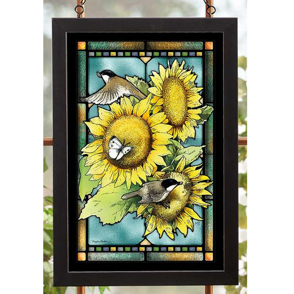 Chickadee and Sunflowers Stained Glass Art | 5386498409