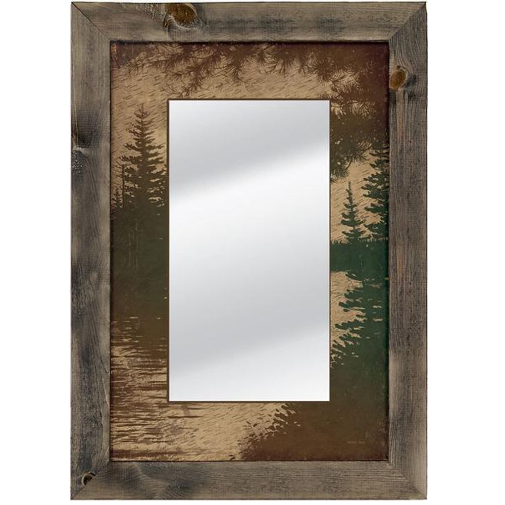 Lake Scene on Birch Bark Decorative Mirror | 5386493042