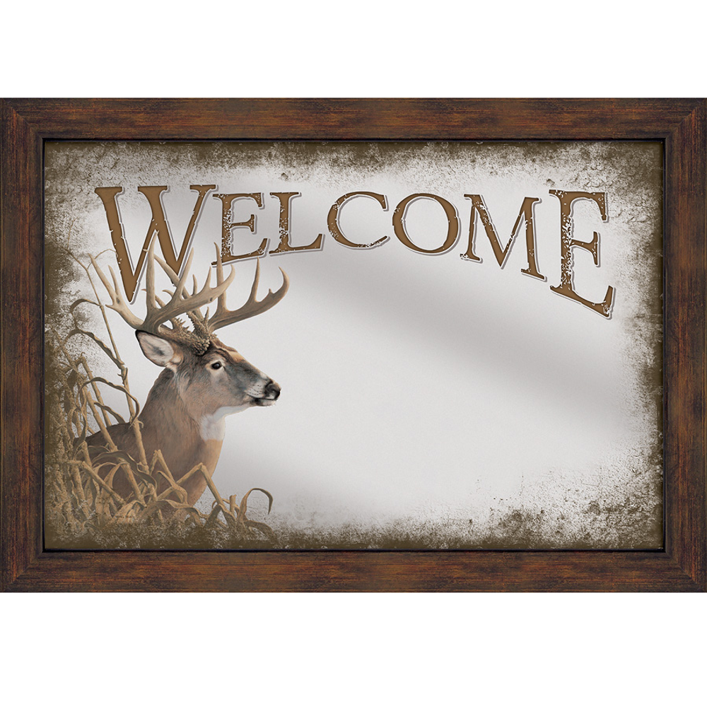 """Whitetail Deer Decorative Mirror """"Welcome"""" 