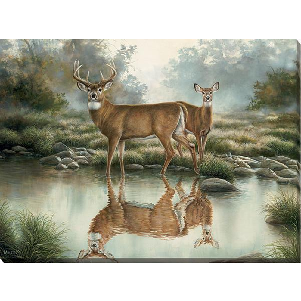 "Whitetail Deer Canvas Wall Art ""Tranquil Waters"" 