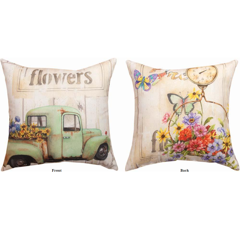 Butterfly and Flowers Indoor Outdoor Throw Pillow | SLFRFW -3