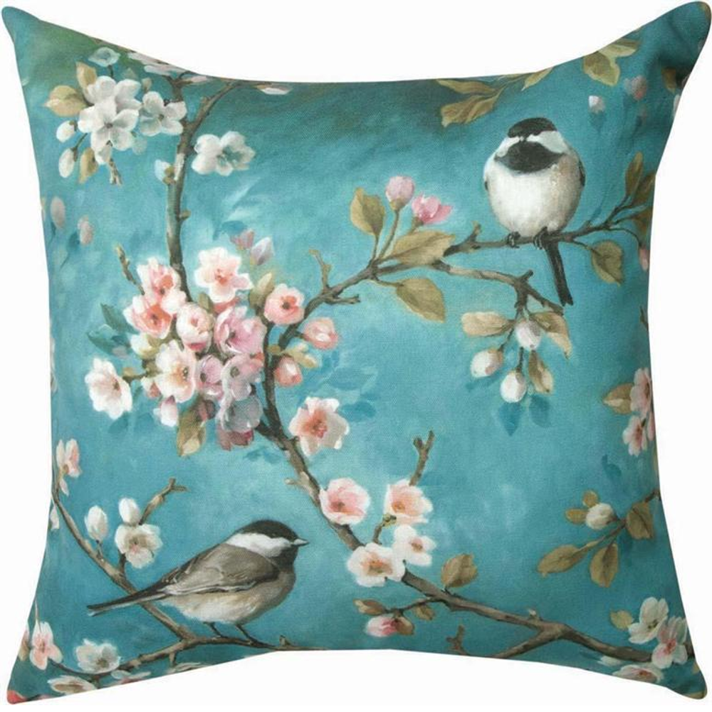 Bird and Blossom Indoor Outdoor Throw Pillow | SLBLM1