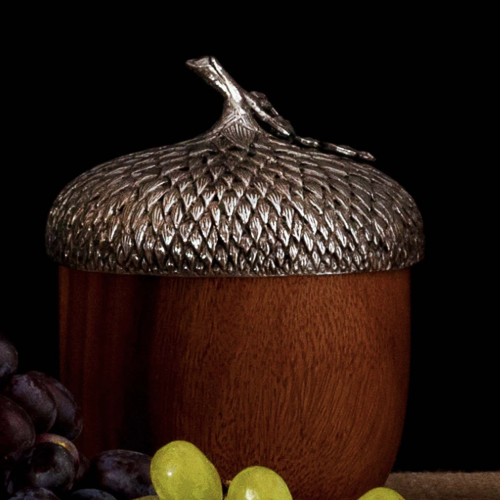 Acorn Wood & Pewter Serving Bowl | Vagabond House | L217B