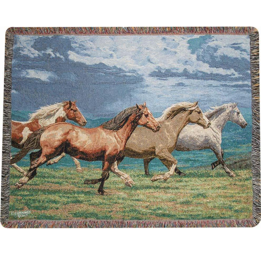 """Horse Tapestry Throw Blanket """"Windswept"""" 