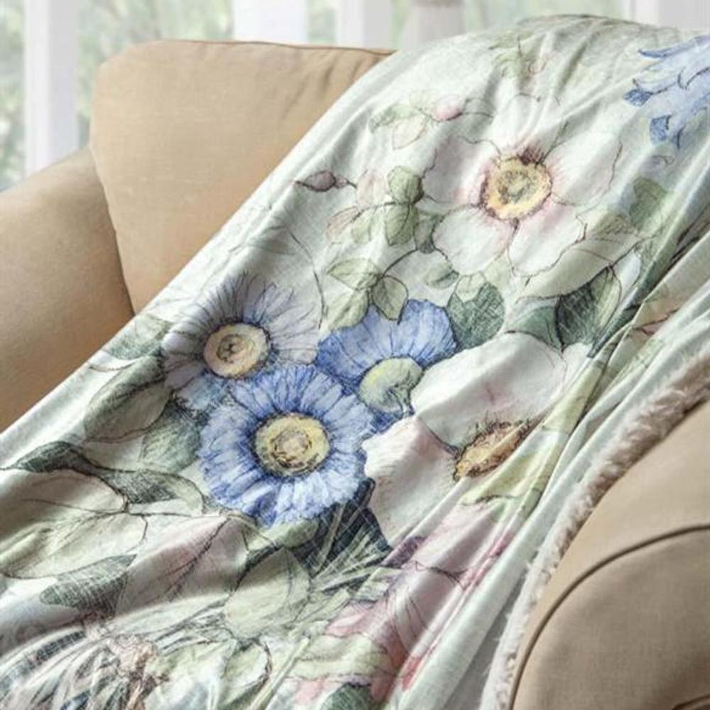 "Flower Fur Backed Fleece Throw Blanket ""Vintage Linen"" 