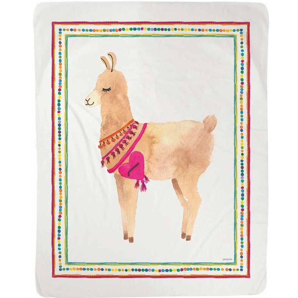 "Llama Sherpa Fleece Throw Blanket ""Fa La Llama""   SAFLLM"