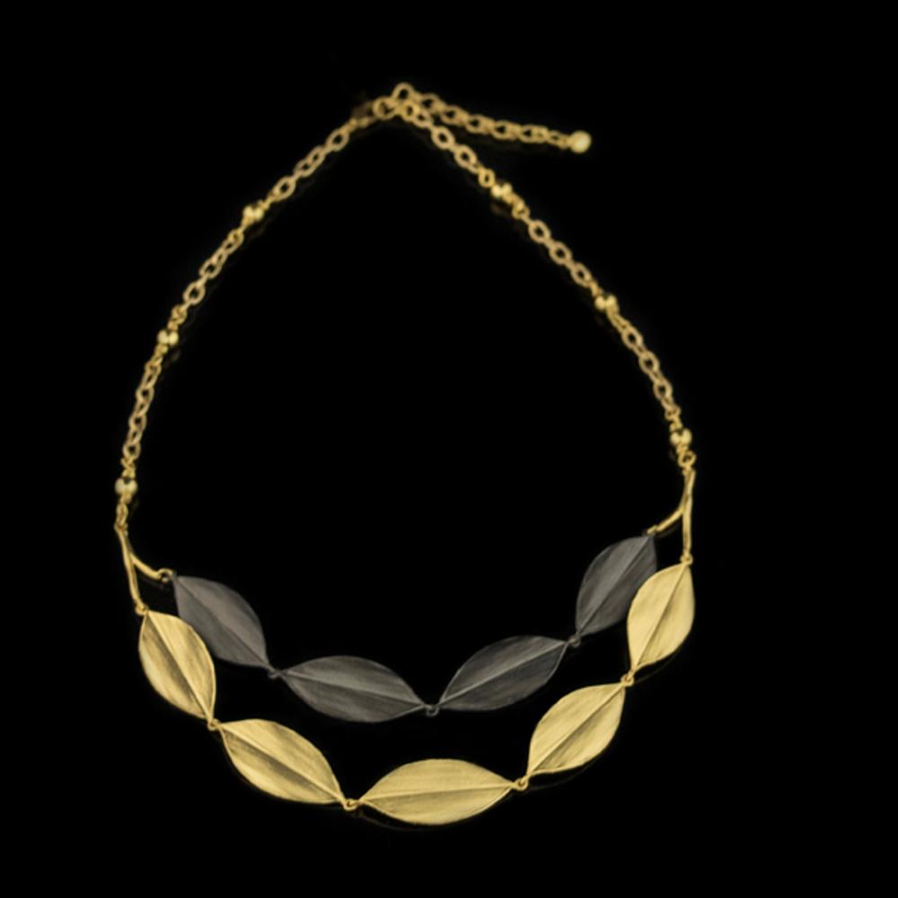 "Cordyline Leaf 18"" Adjustable Double Layer Necklace | Nature Jewelry | Michael Michaud | 9235BZ"