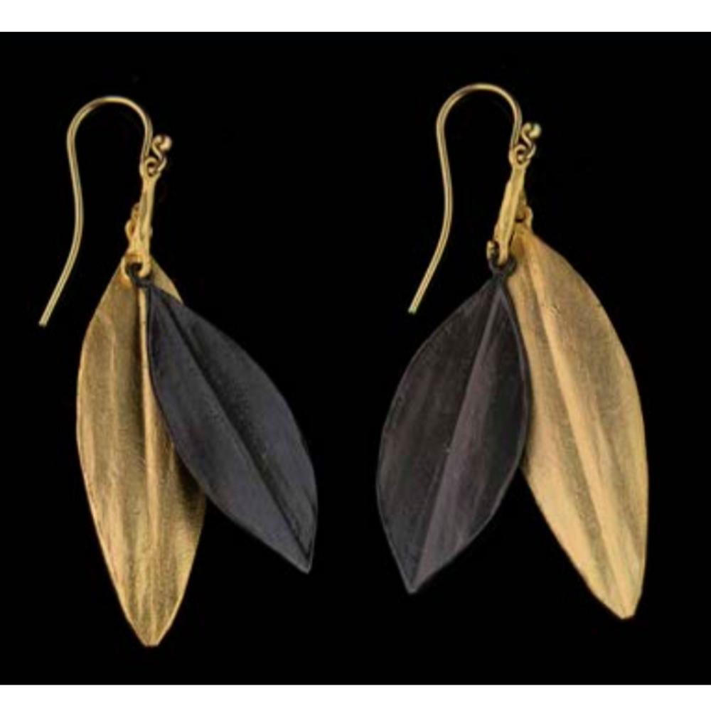 Cordyline Double Leaf Wire Earrings | Michael Michaud | 3321BZ