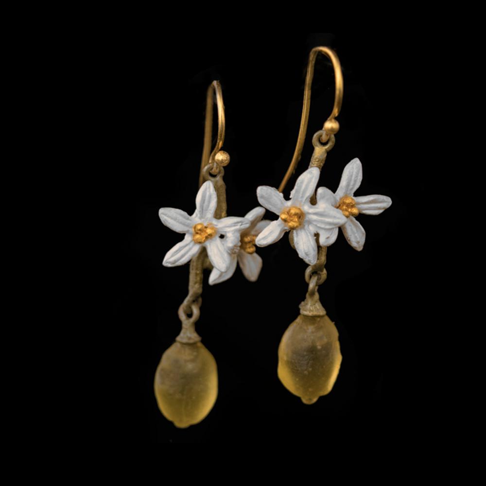 Lemon Drop Dangle Flower Wire Earrings | Nature Jewelry | Michael Michaud | 3318BZ
